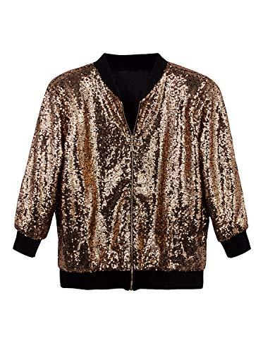 (Vijiv Women's Sparkle Sequin Bomber Jacket Long Sleeves Front Zip Blazer Jacket with Ribbed Cuffs Beige)