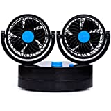 12V 360°Rotatable Adjustable Dual Head Car Cooling Fan, Detachable (Black)