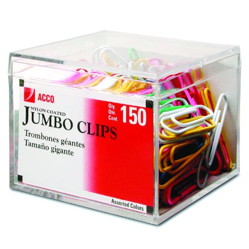 ACCO Multi-colored Nylon Coated Paper Clips, Smooth, Jumbo, 150/Box