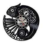 Handmade Solutions EU Steampunk Chameleon Vinyl Wall Clock Ornament Gifts for Her Women Bedroom Accessories Room Decor… 6