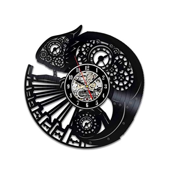 Handmade Solutions EU Steampunk Chameleon Vinyl Wall Clock Ornament Gifts for Her Women Bedroom Accessories Room Decor… 3
