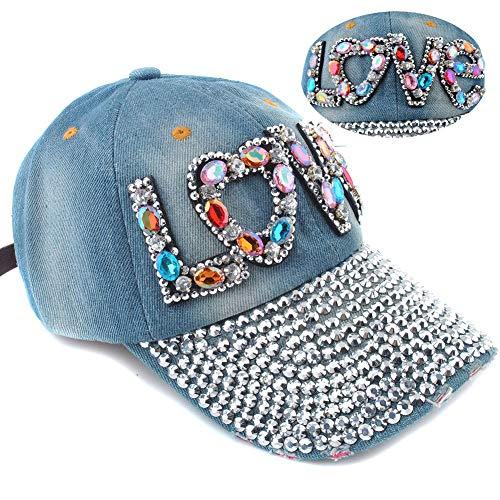 (Elonmo Cute Letter Love Womens Baseball Cap Jewel Rhinestone Bling Hats Jeans Wash Denim (Blue))