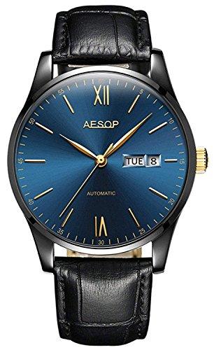 Men Fashion Simple Automatic Mechanical Watch Ultra Thin Case Waterproof Leather Strap Minimalist Wristwatch (Black Blue)
