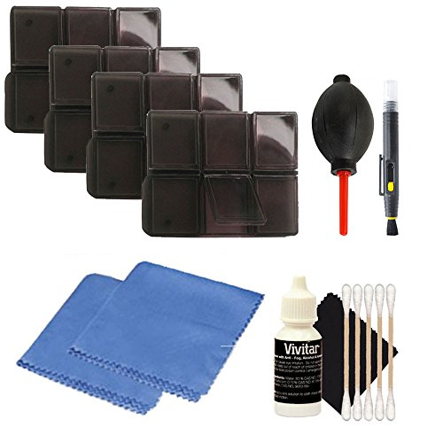 Four Card Holders with Lens Cleaning Kit for CANON EOS Rebel T6i T6 T6s T5i T5 T4i T3i - 6pc Multi Memory Card Holder