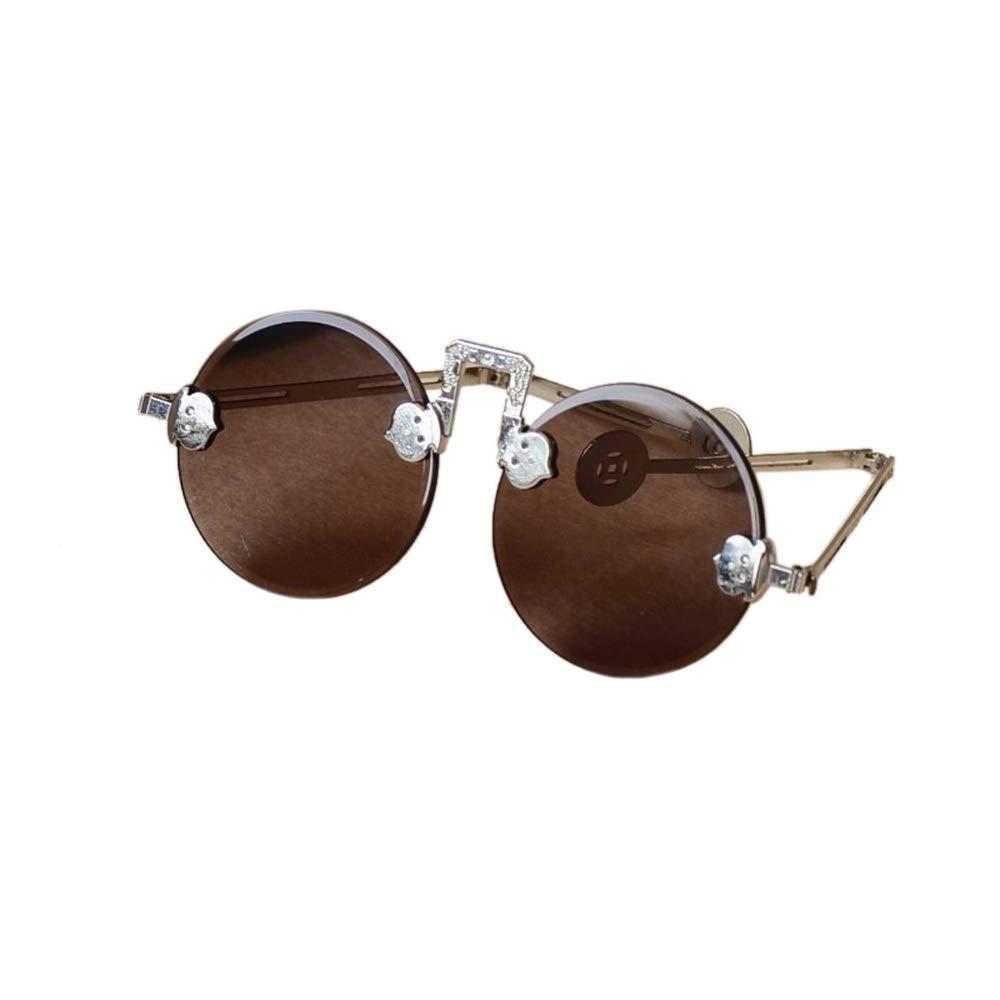 Brown Kirabon Unisex  Round Retro Eyelasses, Natural Crystal Lens 54MM (color   Yellow)