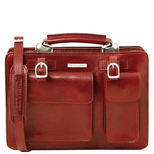 Tuscany Leather - Tania - Bolso de señora en piel con asas - Modelo grande Miel - TL141269/3 Rojo