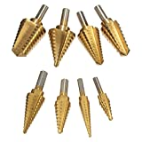 Hitommy 8pcs M7 Drill Hog USA Step Drill Bit HI-Molybdenum Step Drill Bit Set
