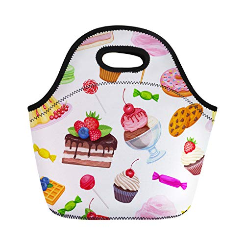 Semtomn Lunch Tote Bag Confectionery and Sweets Dessert Lollipop Muffin Waffles Candies Macaron Reusable Neoprene Insulated Thermal Outdoor Picnic Lunchbox for Men Women