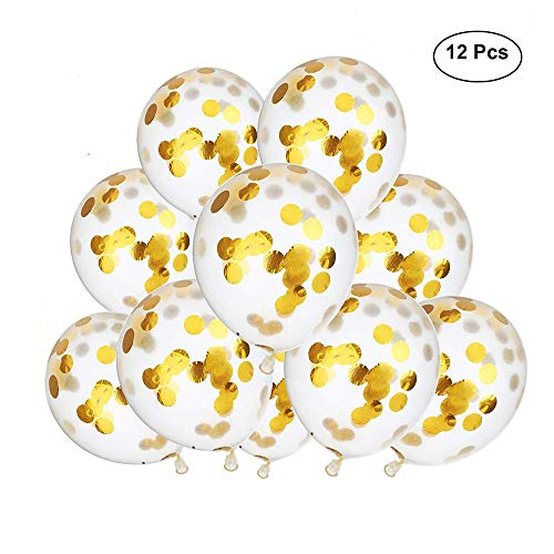 FONBALLOON PARTY 12#039#039 Clear Balloons Prefilled with 25cm Gold Confetti for Wedding Birthday Grad Party Decorations Pack of 12