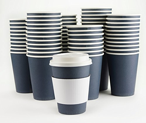 Jumbo White Coffee Cups (JUMBO 120 PACK! | 12oz Premium Disposable Hot Paper Coffee Cups | Lids, Sleeves included - Stirrers FREE!)