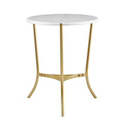 Sleek 22 Inch Round White Marble Top Gold Metal Accent Side End Table    Includes Modhaus