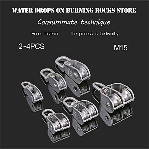 Ochoos 2~4Pcs M15 304 Stainless Steel Single/Double Pulley, Rope Chain Traction Fixed Pulley, Load-Bearing Pulley - (Color: Double 2Pcs M15)