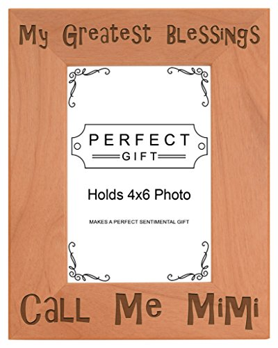 ThisWear Gift Grandma Blessings Call Me Mimi Natural Wood Engraved 4x6 Portrait Picture Frame Wood