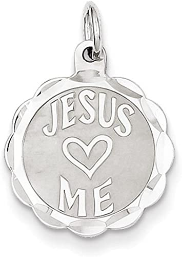 Sterling Silver Solid Faceted Engravable Laser Etched Jesus Loves Me Disc Charm
