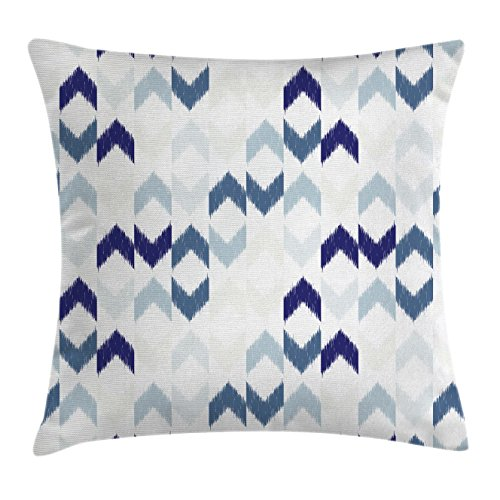 Navy Throw Pillow Cushion Cover by Ambesonne, Abstract Ethnic Ikat Chevron with Hazy Zigzag Folk Traditional image, Decorative Square Accent Pillow Case, 16 X 16 Inches, Purple Slate Blue White - Ikat Throw Pillow