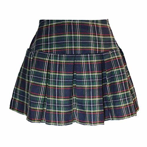 Britney Spears Schoolgirl Costumes (Plaid Schoolgirl Costume Skirt (S/M, Navy/Green))