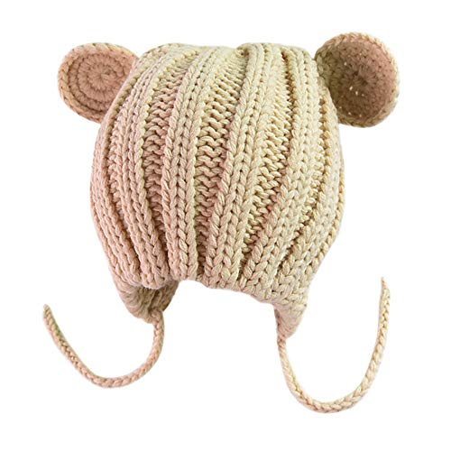 (Goodtrade81 Beige Soft Warm Knit Cotton Cute Baby Beanie Hat with Ear Flap Braids Pom Pom)