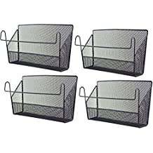 4Pack Dormitory Bedside Storage Baskets, YIFAN Mesh Origanizer Caddy for Books Phones Drinks Office Home Table Hanging Organizer Desktop Corner Shelves - Black