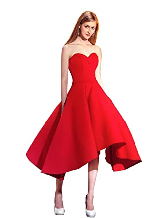 399940dfa23 Mypuffgirl Women s Red Sweetheart Satin Knee Length A Line Homecoming Party  Dress-Red Size 2