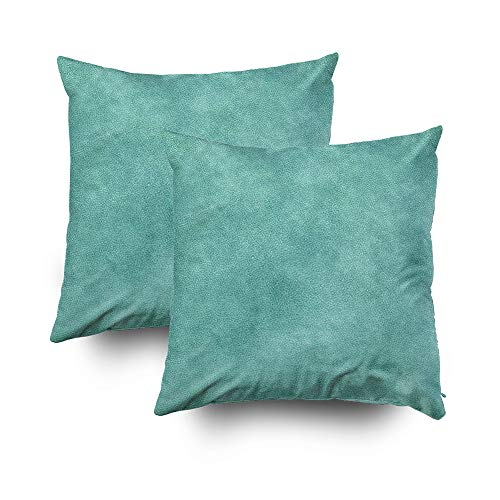 Art Deco Leather Sofa (EMMTEEY Home Decor Throw Pillowcase for Sofa Cushion Cover,Halloween Leather Pastel Teal Print Decorative Square Accent Zippered and Double Sided Printing Pillow Case Covers 20X20Inch,Set of 2)
