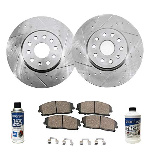 Detroit Axle - Pair (2) 321mm Front Drilled and Slotted Disc Brake Rotors w/Ceramic Pads w/Hardware & Brake Cleaner & Fluid for 2005 2006 2007 2008 Audi A4 - [2005-2009 Audi A4 Quattro]
