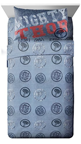 Marvel Thor Mighty 3 Piece Twin Sheet Set, Thor Blue by Marvel