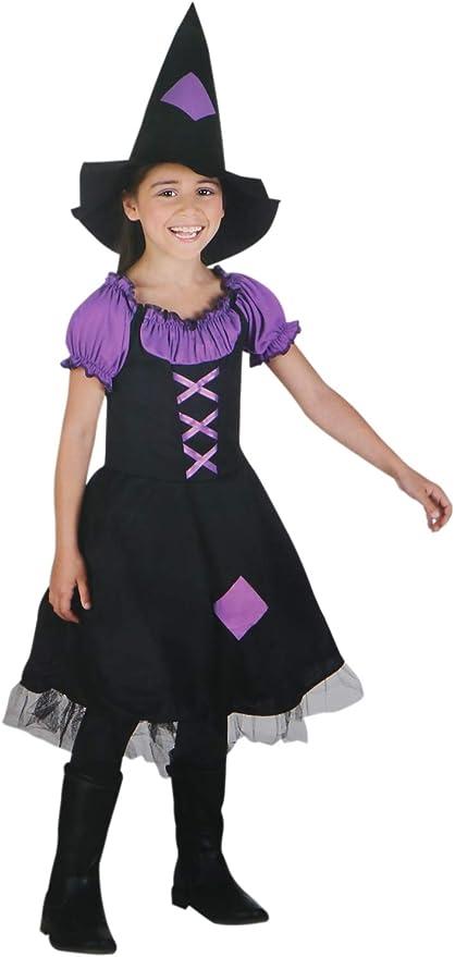 com-four® Disfraz Infantil Bruja para niñas - Sombrero de Bruja y ...