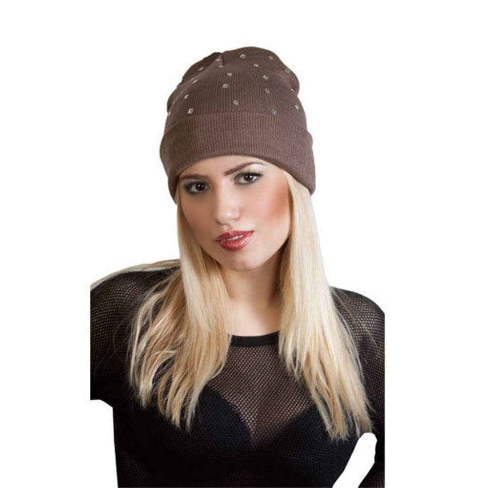 c06923f72e0 Flagstaff Chrome Studded Knitted Beanie Hat Slouch Hat Stud Spike Goth Punk  Adults Winter Hat (Brown)  Amazon.co.uk  Clothing