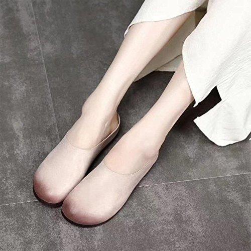 Superiore Morbida Brown a Sandali Scarpe Fatti Scarpe da Pelle sfumato Decorazione Usura Pantofole Donna Pelle Mano in Muller in Colore wOxqHUI
