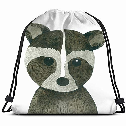 Raccoon Cartoon Watercolor Isolated On White Animals Wildlife Alert Nature Drawstring Backpack Gym Dance Bags For Girls Kids Bag Shoulder Travel Bags Birthday Gift For Daughter Children ()
