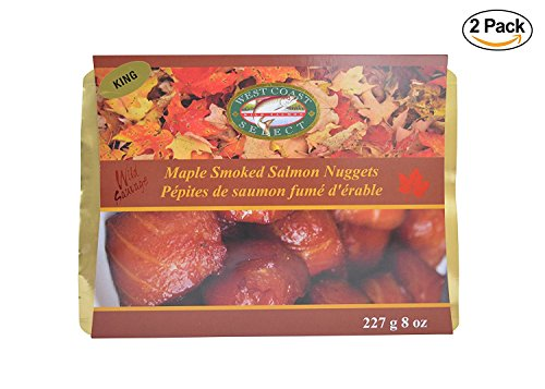 2 Pack Wild Caught Canadian Maple Smoked Wild King Salmon Nuggets Fresh Fish Seafood Treat