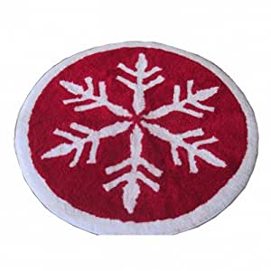 Style Selections Red Snowflake Throw Rug 24 Round Skid Resistant Bath Mat