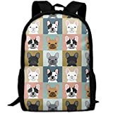 Cheap French Bulldog Pattern-02 Interest Print Custom Unique Casual Backpack School Bag Travel Daypack Gift