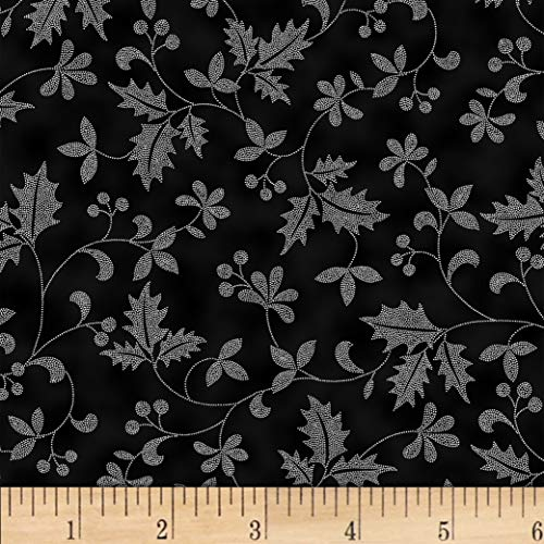 Hoffman Metallic Poised Poinsettia Holly Vine Onyx/Silver Fabric by the Yard