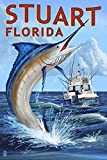Stuart, Florida - Marlin Fishing Scene (12x18 Collectible Art Print, Wall Decor Travel Poster)