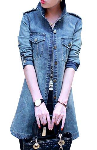 Alion Women's Slim Fit Long Denim Trench Coat Jacket Windbreaker L Denim Blue by Alion