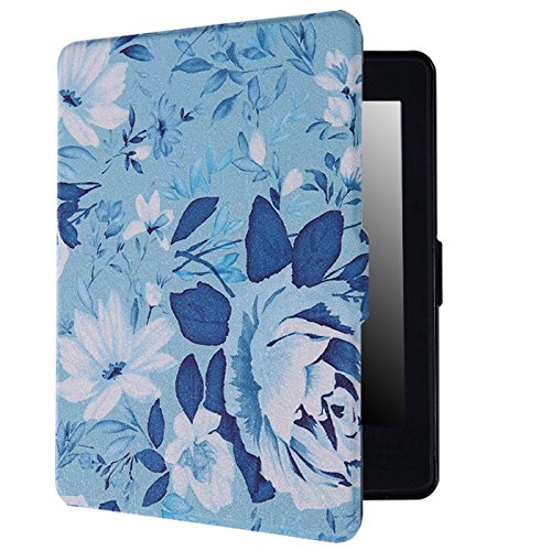 HDE Case for Kindle Paperwhite (2016, 2015, 2013, 2012) – Ultra Slim Cover Auto Sleep/Wake Smart Shell for All-New Amazon Kindle Paperwhite (Fits All Versions) - Blue Floral