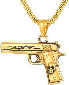 U7 Collar Pistola M9/M16/AK47/UZI, Colgante de Armas Imitación, Material Acero Inoxidable, Joyería de Moda para Hombres Militares Soldados, con Caja de Regalo