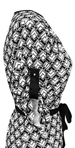 Peach Couture Women's Geometric Square Hi Low Mid-Length Shift Dress (Medium, Black and White)