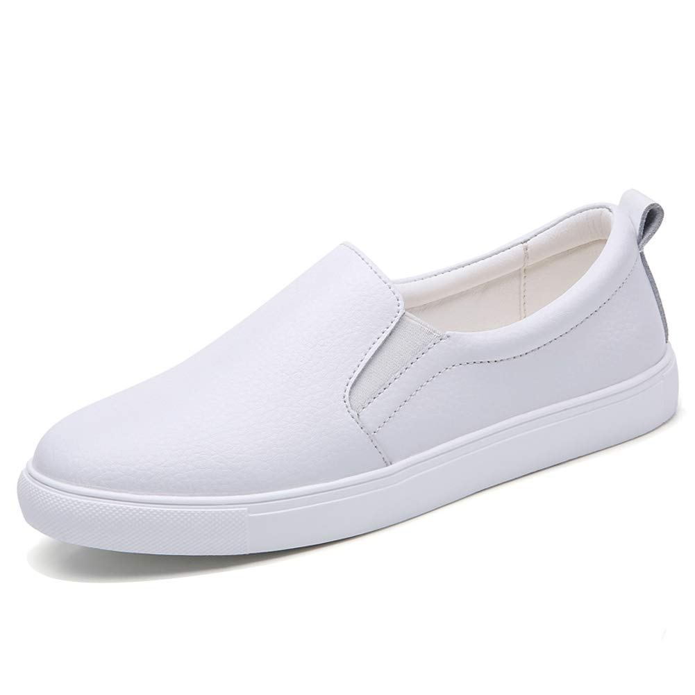 ade0f004066 Galleon - HKR Womens Loafers Casual Slip On Sneakers Comfortable Leather  Flats Nurse Working Shoes White 6 US(L505baise37)