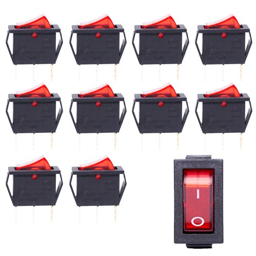 Gadgeter 10 Pcs 3 Pin 250V AC 15A 2 Position ON/OFF KCD3 Boat Rocker Switch With Red indicator light (Switch 120v)