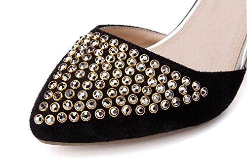 Adee Pumps Black Shoes Studded Womens Toe Pointed Frosted 7zXqr70
