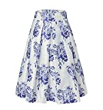 Alistyle Women Midi Dress Porcelain Print High Waist Pleated Swing A-Line Flared Skater Skirts