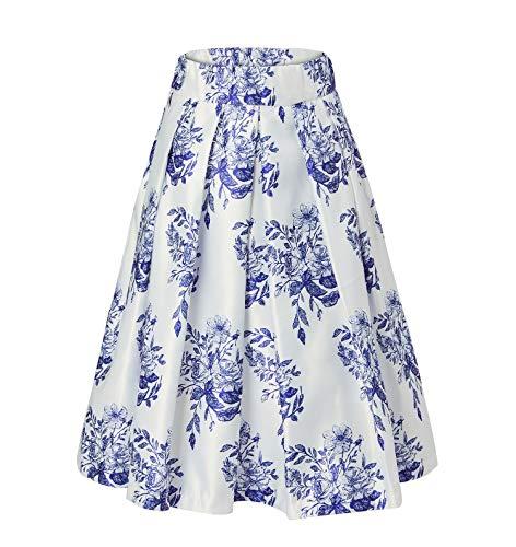 Alistyle Femme Taille Haute Plisse 3D Floral imprime Mi Longue Vintage Femme Jupe Porcelain