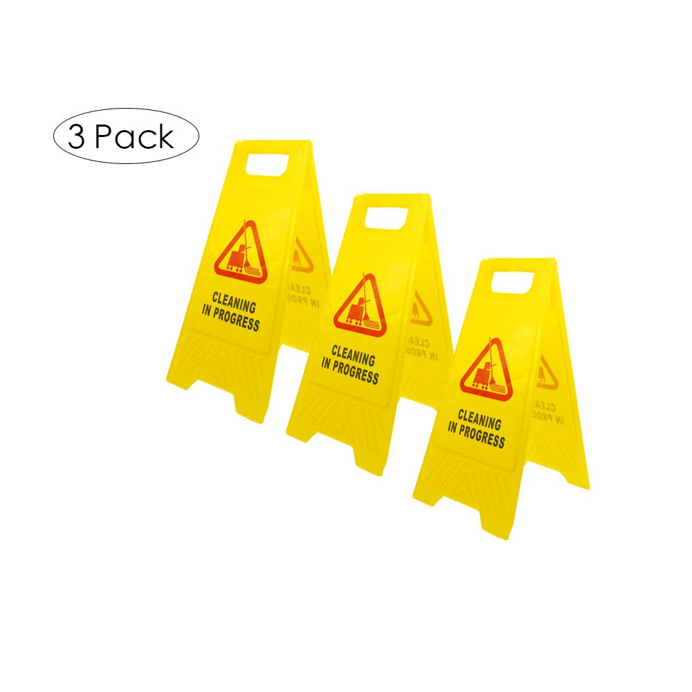 LTF Cleaning in Progress Sign in Bright Yellow Color with Vivid Sweeping Symbol, 2-Sided Folding Warning Safety Sign with English and Spanish Bilingual Printed, 3 Pack by LTF