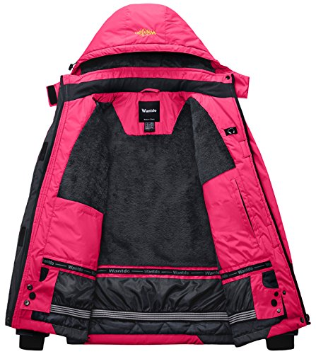 Excursión Esquí de Chaqueta para Impermeable Rosa Forro Wantdo Polar Mujer WaFYEqOw