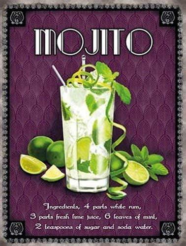 Mojito clásico cóctel. Bebida, vidrio, recetas. Cales, ron, mint, sugar y soda agua Metal/Cartel De Acero Para Pared - 9 x 6.5 cm (Imán)