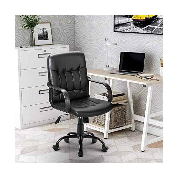 Merax Chaise de bureau pivotante en cuir synthétique noir – Hauteur réglable et fonction bascule avec accoudoirs