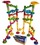 "Marble Run Coaster 106 BIG Elements Kit 76 Blocks+30 Plastic Marbles. Tracks length 194"" Genius Fun Set. Learning Railway Construction. TEVELO DIY Endless Design Maze, Classic Toy for Family."