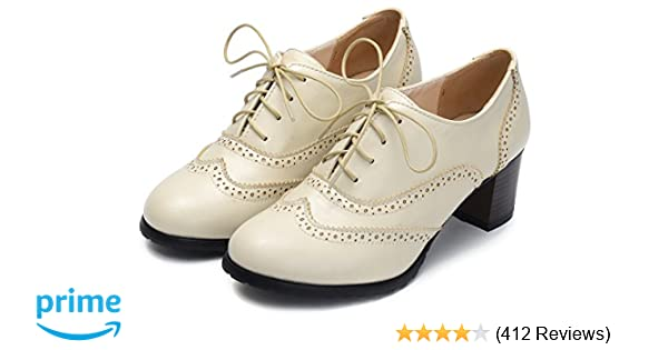 431ad30c4b6e1 Odema Womens PU Leather Oxfords Brogue Wingtip Lace up Chunky High Heel  Shoes Dress Pumps Oxfords